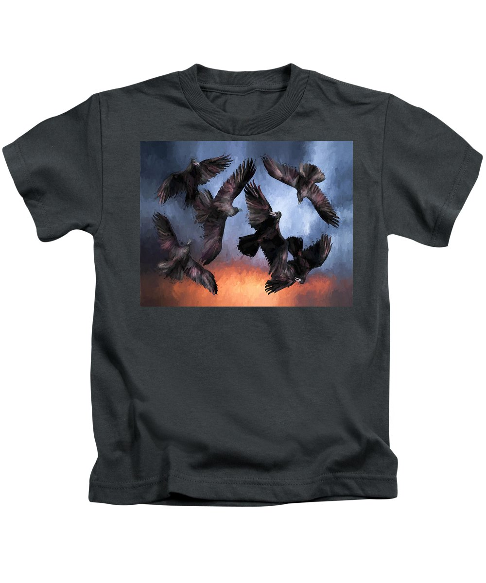 Fine Art Kids T-Shirt featuring the painting Airborne Unkindness by David Wagner