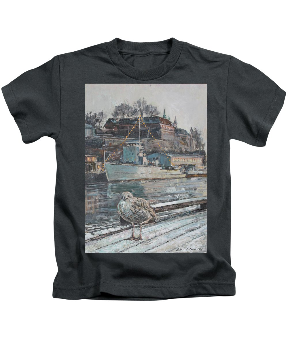 Winter Kids T-Shirt featuring the painting Akershus Seagull by Andrei Belevich