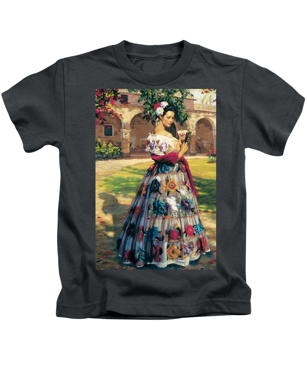 Woman Elaborately Embroidered Mexican Dress. Background Mission San Juan Capistrano. Kids T-Shirt featuring the painting Al Aire Libre by Jean Hildebrant