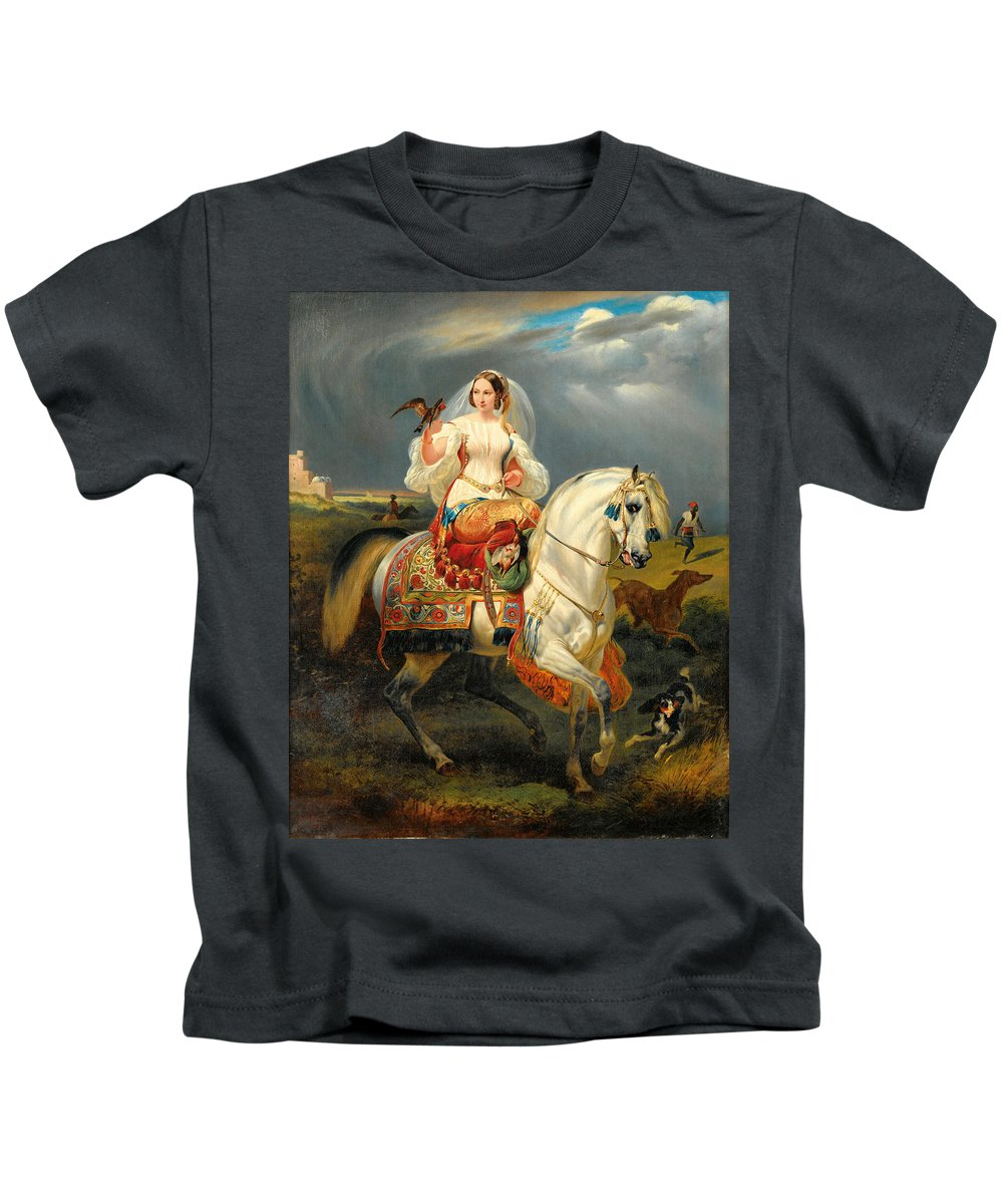 After Horace Vernet Kids T-Shirt featuring the painting Algerian Hunter With A Falcon by After Horace Vernet