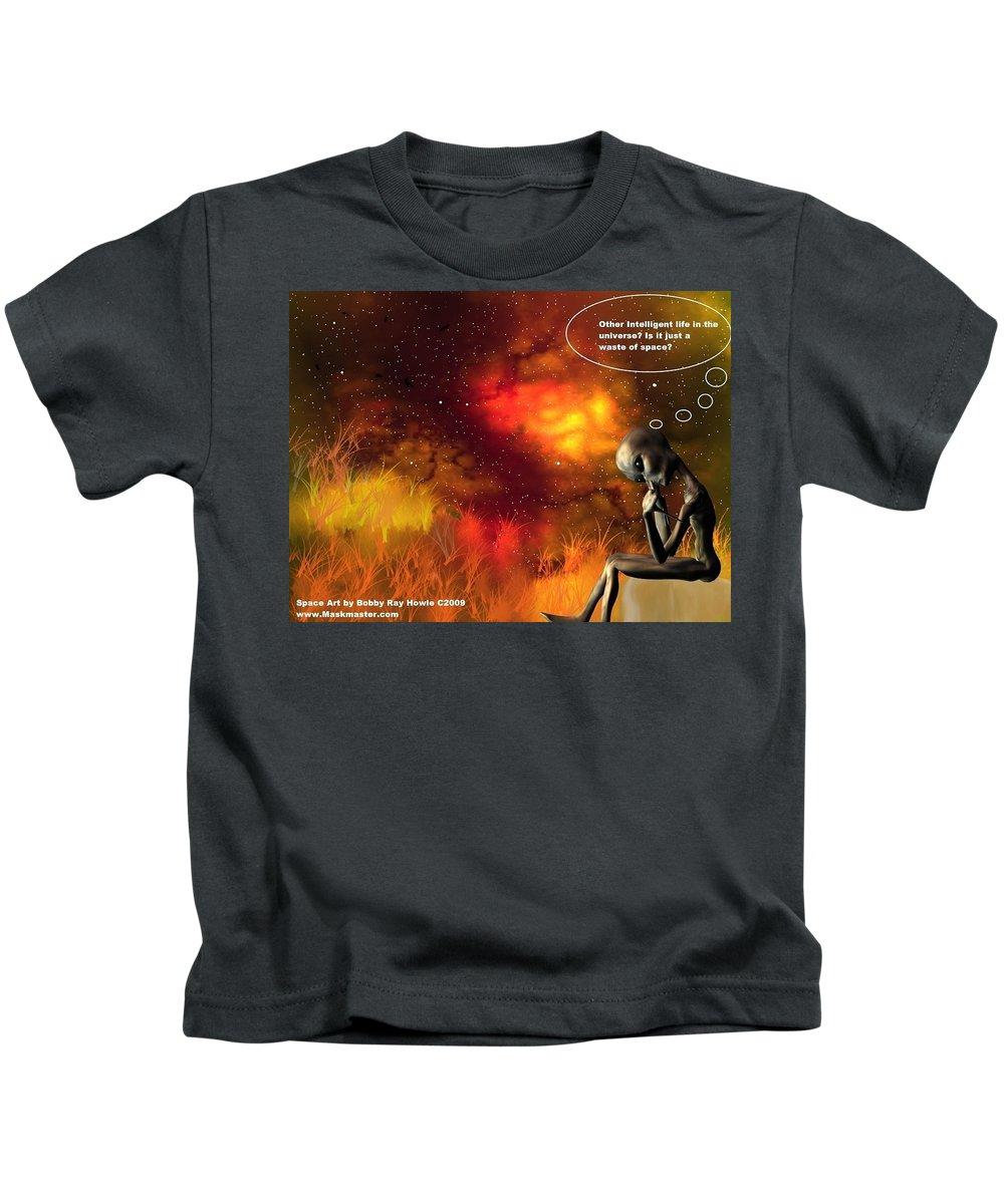 Comic Space Art Cartoon Artrage Artrageus Kids T-Shirt featuring the digital art Alien Thinker by Robert aka Bobby Ray Howle