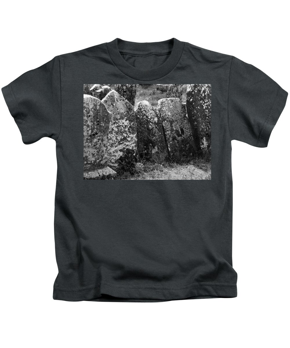 Ireland Kids T-Shirt featuring the photograph All In A Row At Fuerty Cemetery Roscommon Ireland by Teresa Mucha