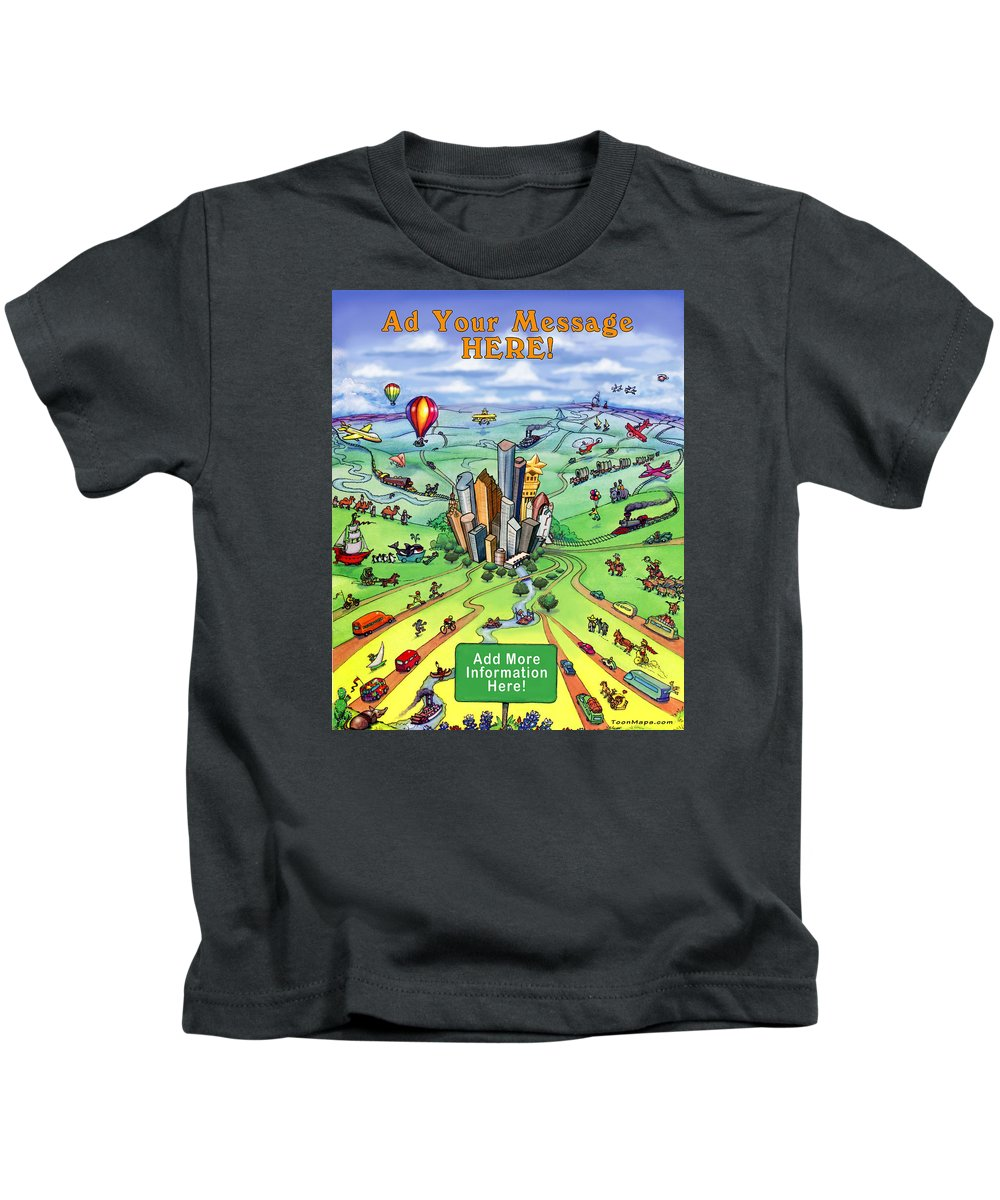 Houston Kids T-Shirt featuring the digital art All Roads Lead To Houston by Kevin Middleton