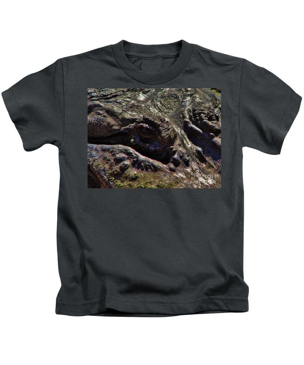 Alligator Kids T-Shirt featuring the photograph Alligator Eye by D Hackett