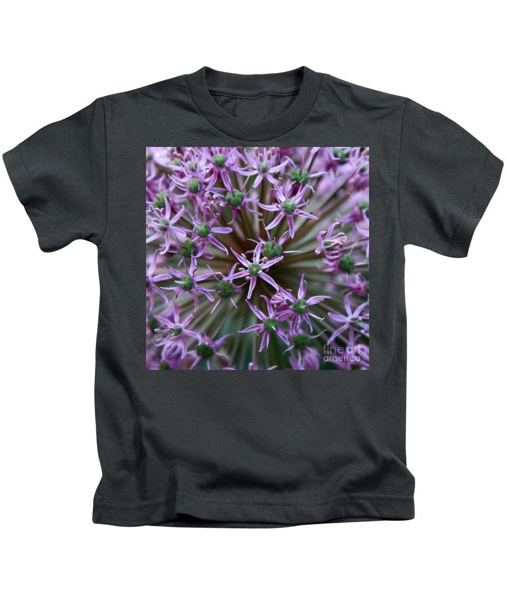 Nature Macro Kids T-Shirt featuring the photograph Allium Macro by Carol Groenen