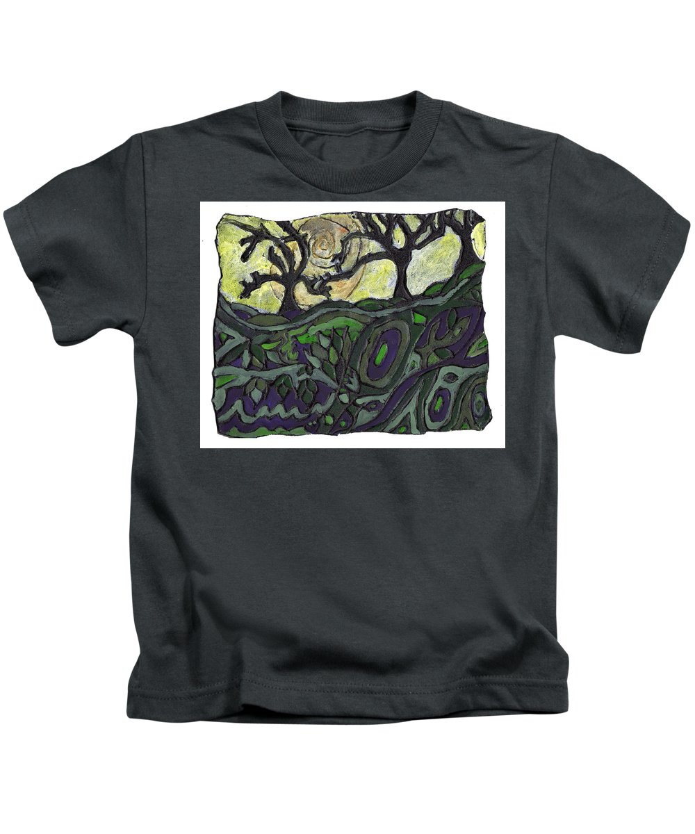 Woods Kids T-Shirt featuring the painting Alone In The Woods by Wayne Potrafka