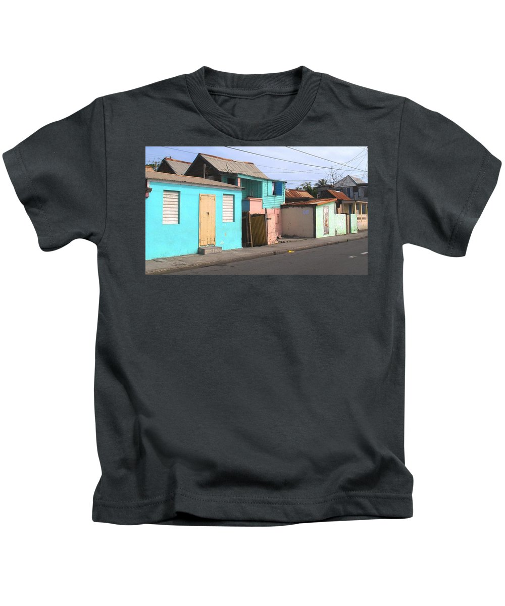 St Kitts Kids T-Shirt featuring the photograph Along Bay Road by Ian MacDonald