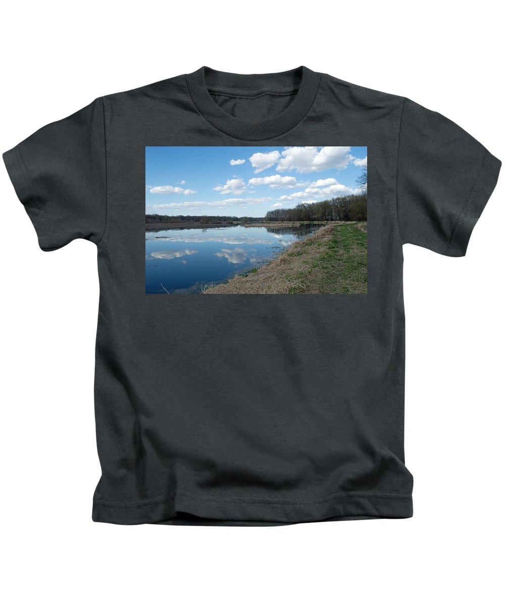 Wetland Kids T-Shirt featuring the photograph Along The Dike by Linda Kerkau