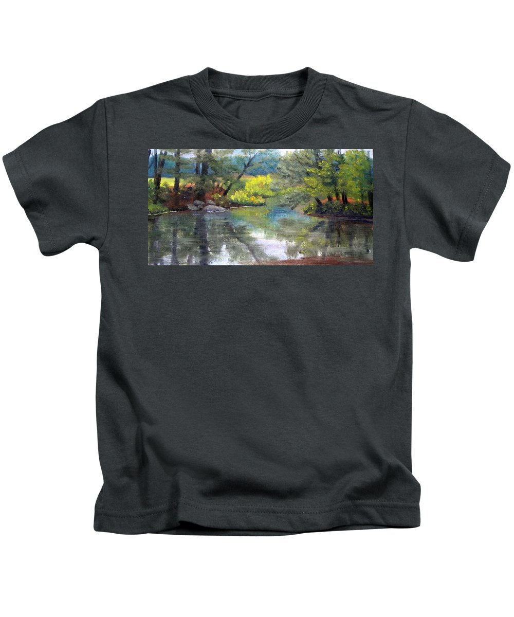 Reflections Kids T-Shirt featuring the painting Along the Exeter River by Sharon E Allen
