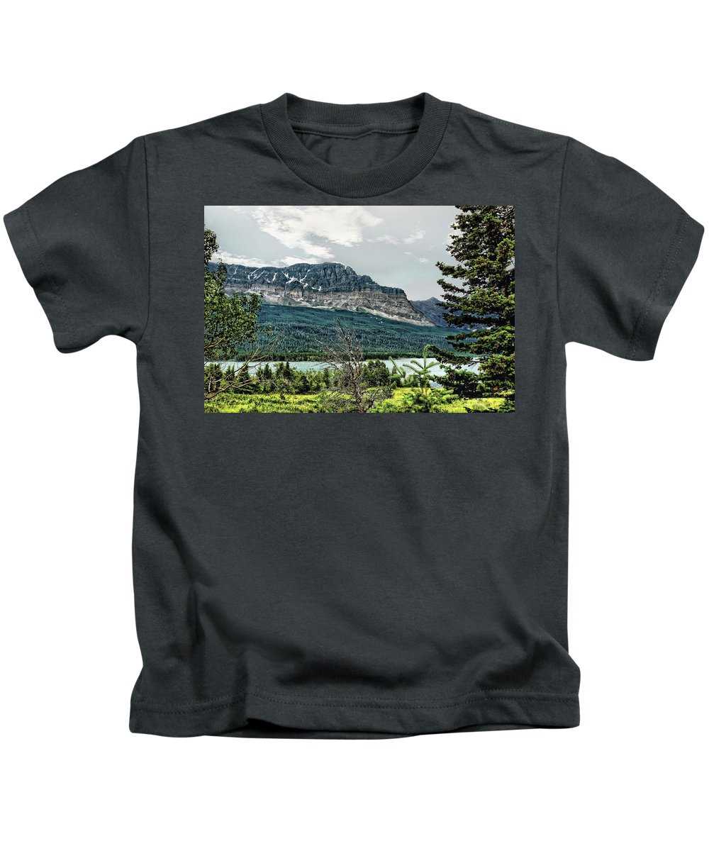 Mountains Kids T-Shirt featuring the photograph Along The Road To Many Glacier 4 by John Trommer
