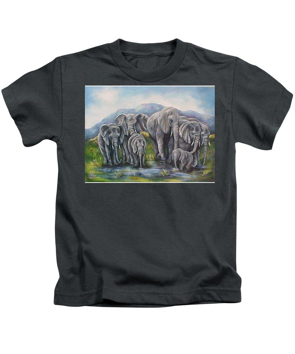Elephants Kids T-Shirt featuring the painting Always by Melody Horton Karandjeff