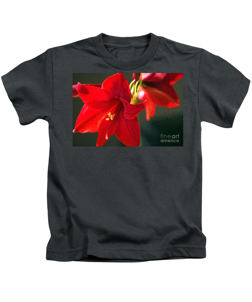 Amaryllis Kids T-Shirt featuring the photograph Amaryllis Digital Photoart by Sharon Talson