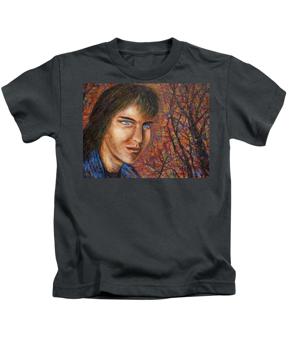 Colorful Autumn Kids T-Shirt featuring the painting Amber Glow by Natalie Holland