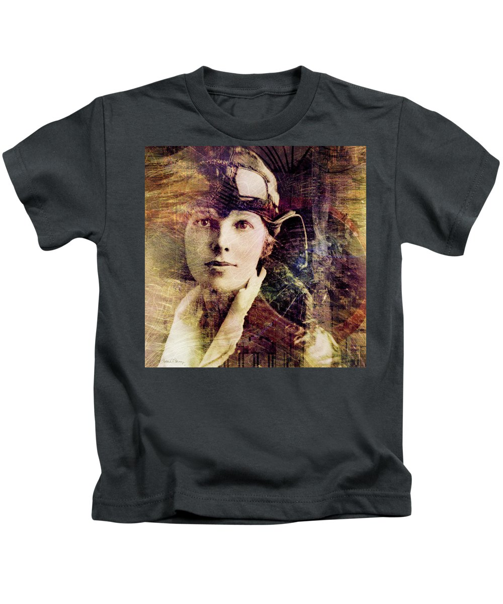 amelia Earhart Kids T-Shirt featuring the digital art Amelia by Barbara Berney