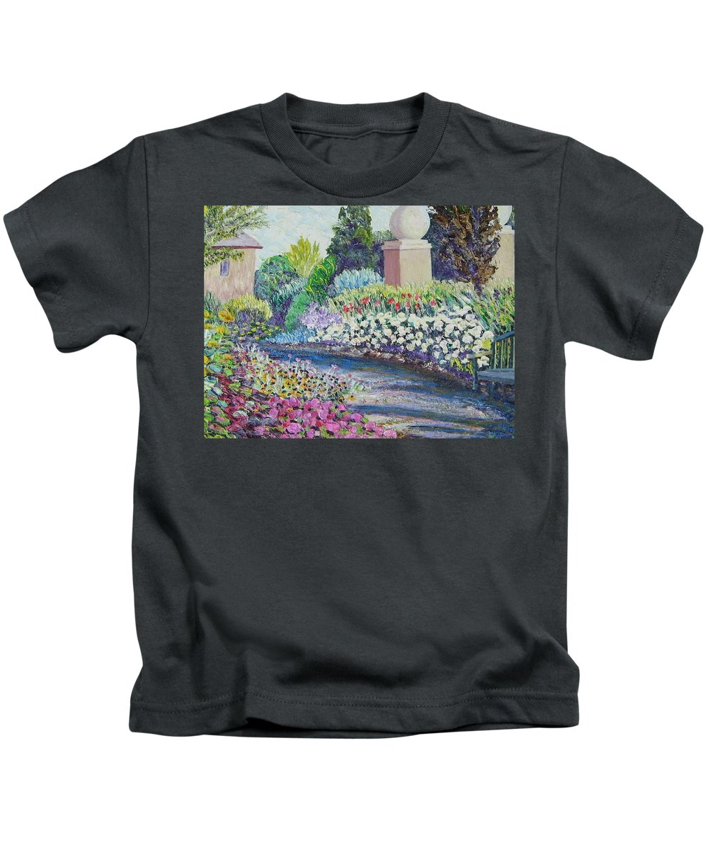 Flowers Kids T-Shirt featuring the painting Amelia Park Pathway by Richard Nowak