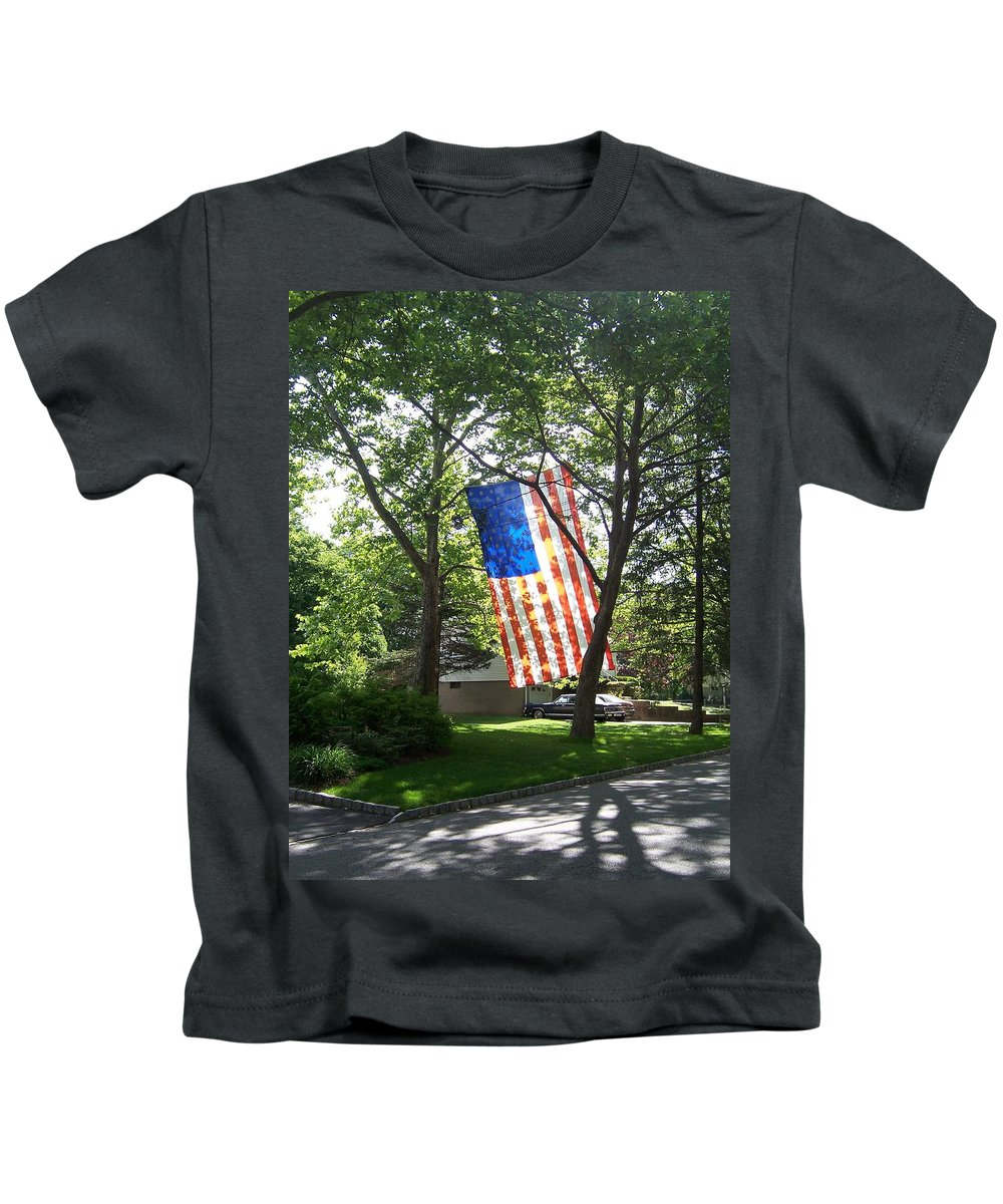 American Flag Kids T-Shirt featuring the photograph America The Beautiful by Laurie Paci