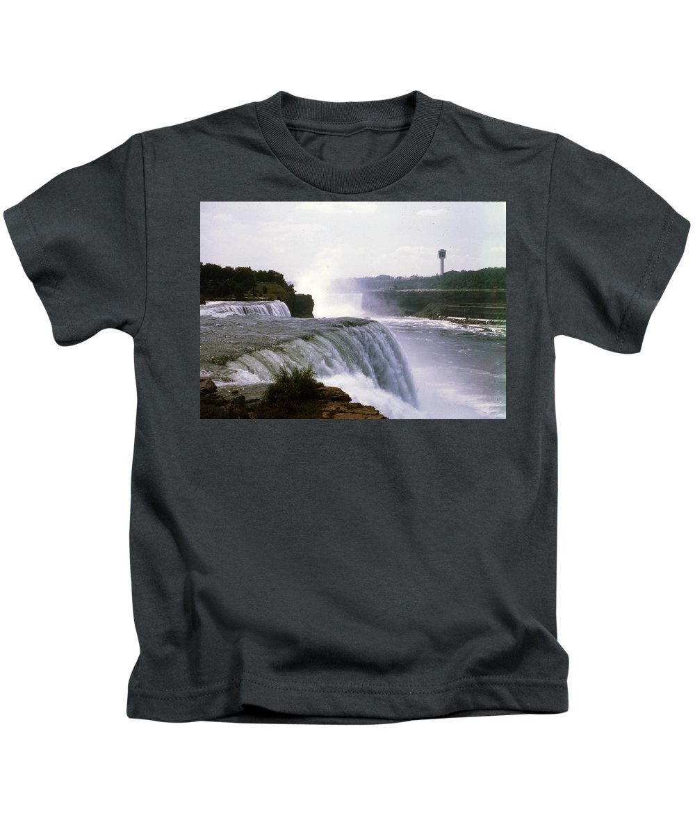 American Falls Kids T-Shirt featuring the photograph American Falls by Delbert Larkin