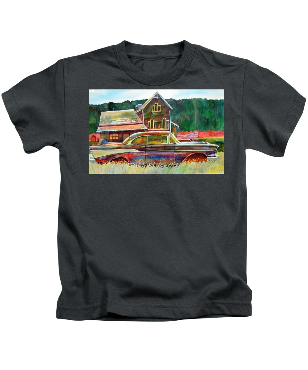 57 Chev Kids T-Shirt featuring the painting American Heritage by Ron Morrison