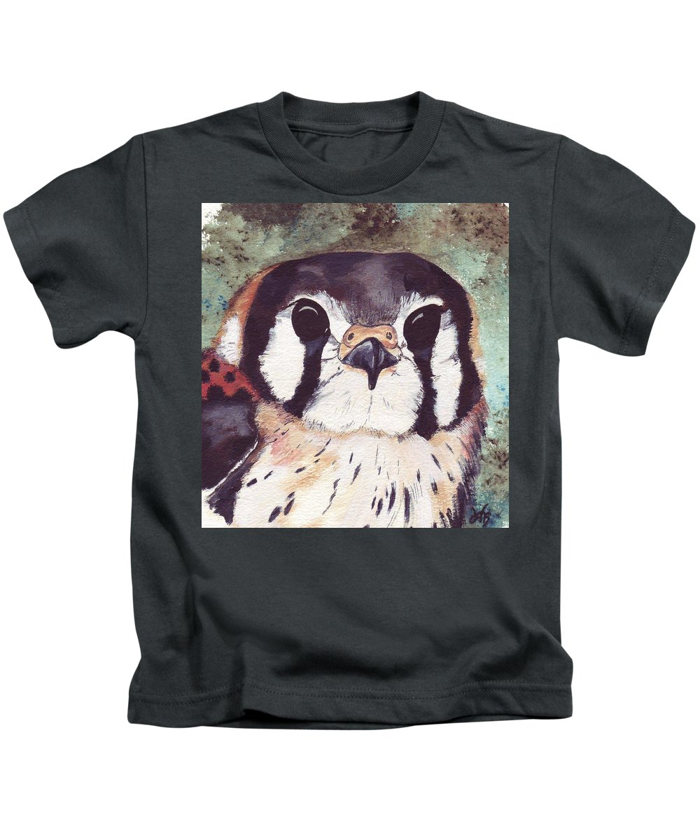 Raptor Kids T-Shirt featuring the painting American Kestrel by Debra Sandstrom