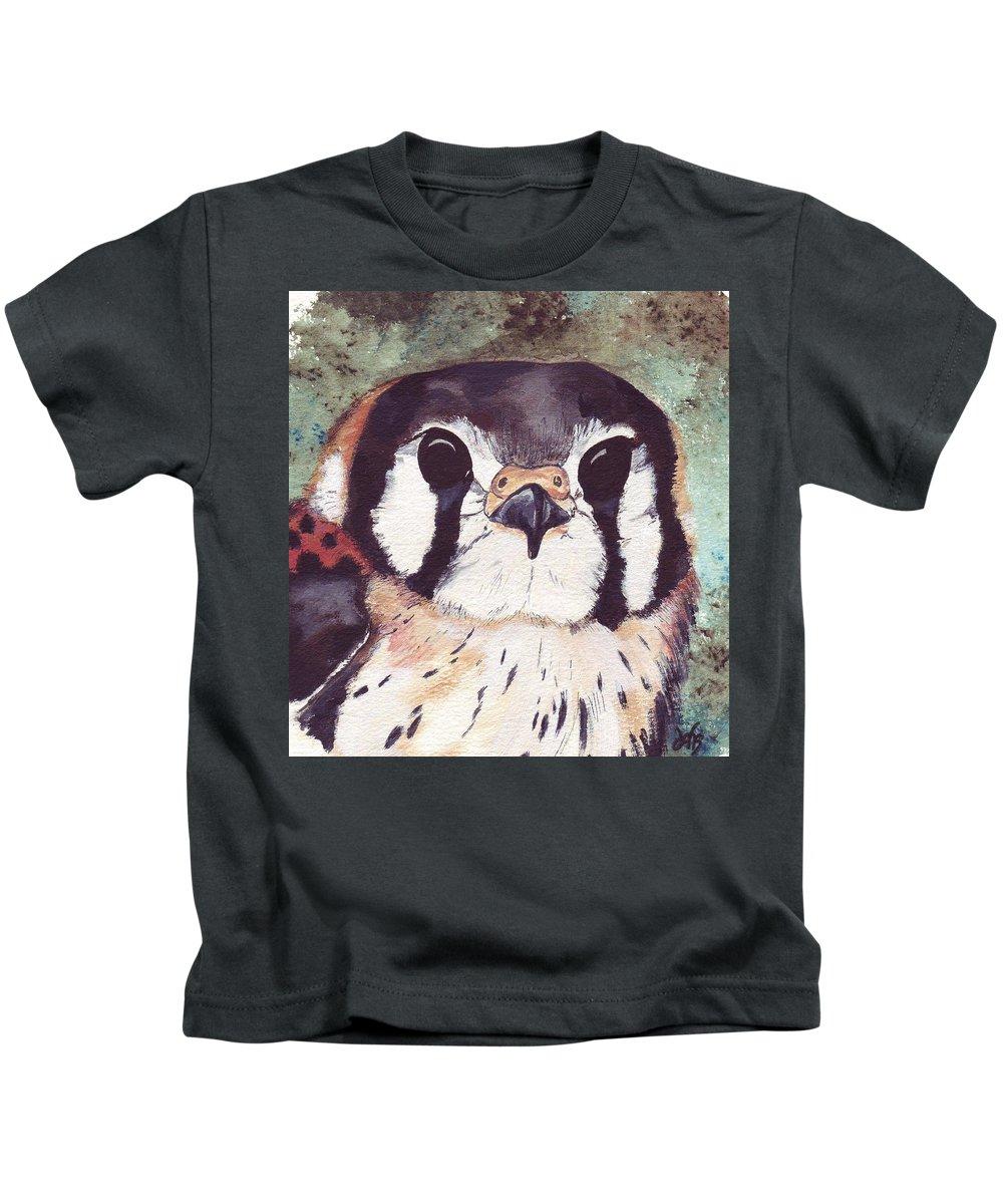Raptor Kids T-Shirt featuring the painting American Kestrel by Debra Sandstrom