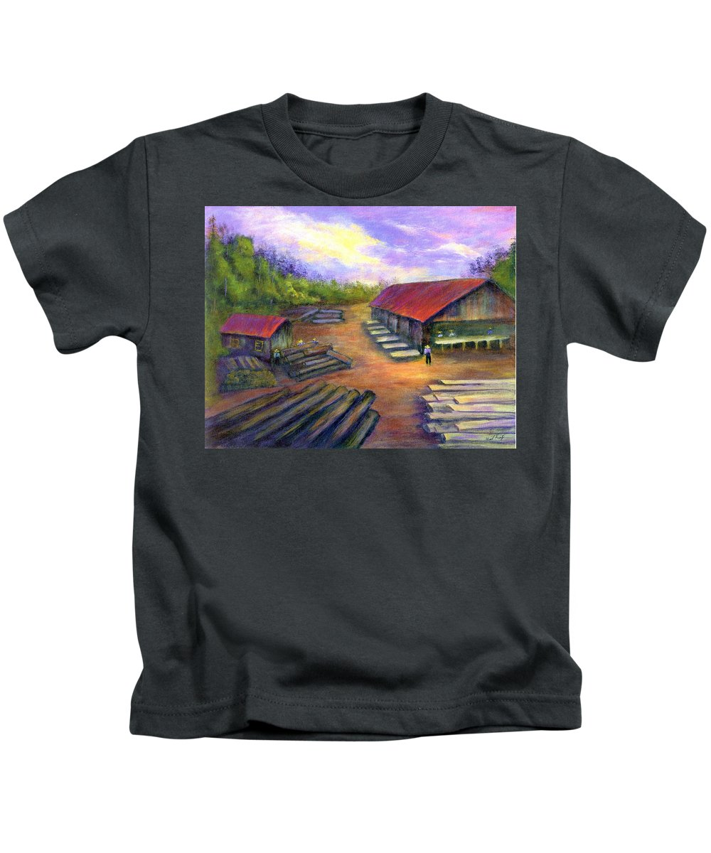 Amish Kids T-Shirt featuring the painting Amish Lumbermill by Gail Kirtz