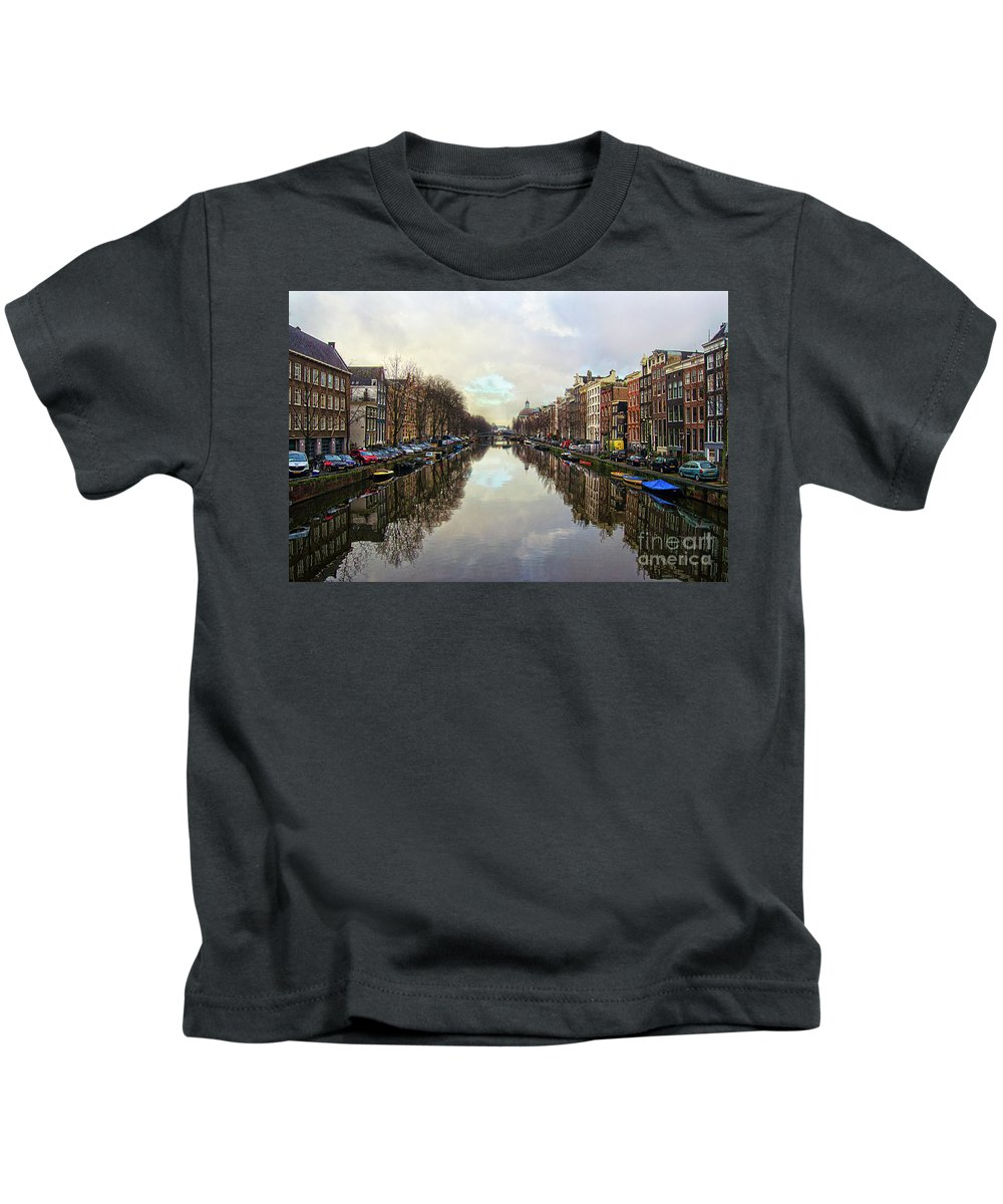 Amsterdam Kids T-Shirt featuring the photograph Amsterdam Reflected by Spade Photo
