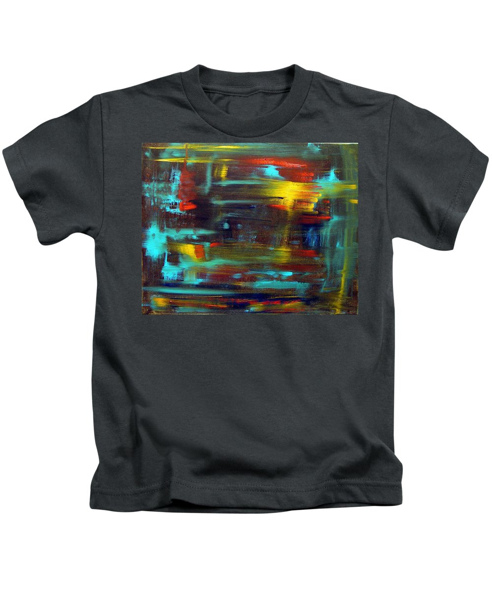 Red Blue Yellow Gold Brown Cad Orange Eyes Obama Oscar  Face Thought Emotions Kids T-Shirt featuring the painting An Abstract Thought by Jack Diamond