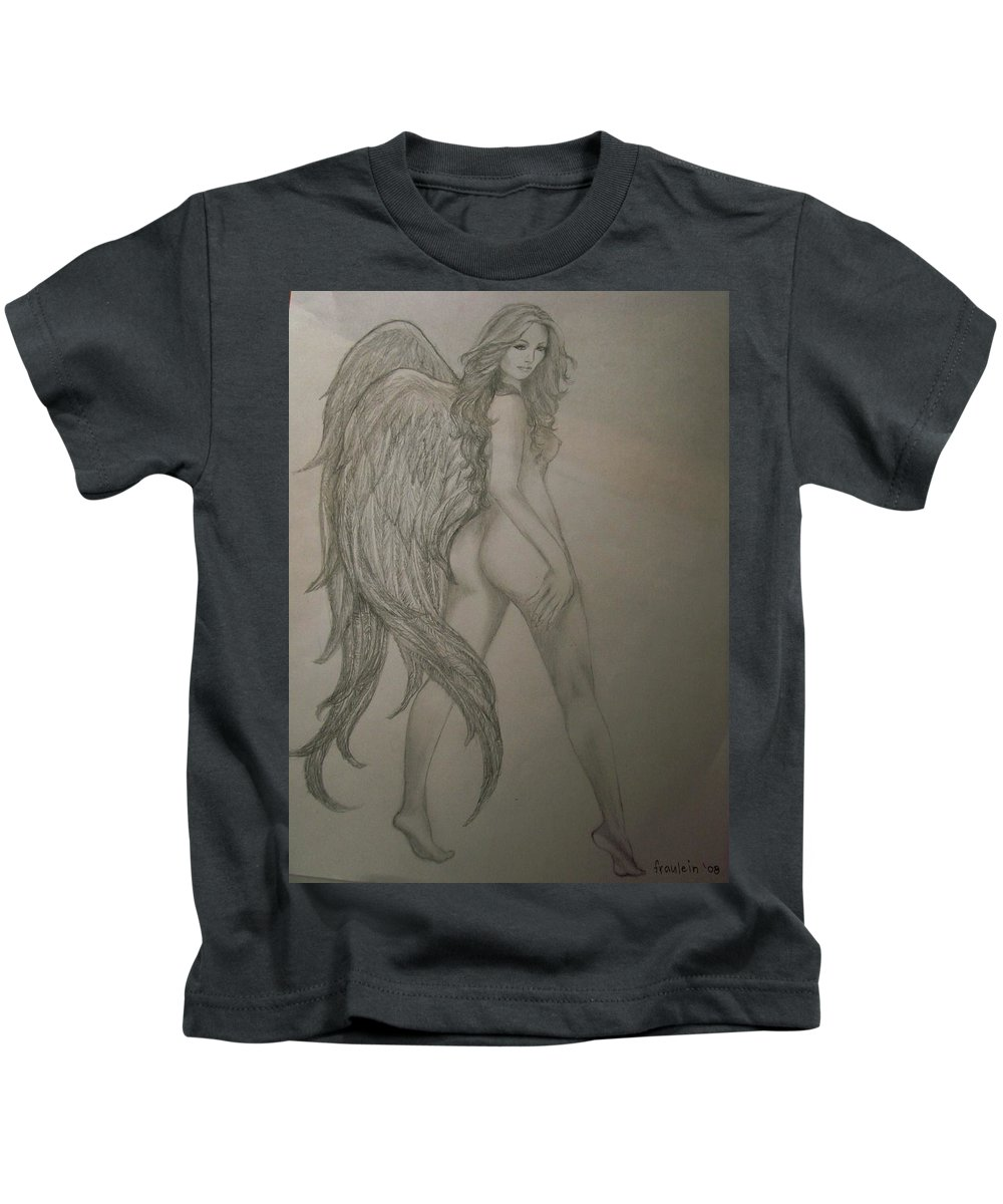 Angel Kids T-Shirt featuring the drawing An Angel by Glory Fraulein Wolfe
