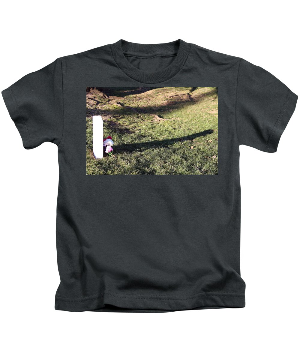 Alington Kids T-Shirt featuring the photograph An Arlington Grave With Flowers And Shadows by Cora Wandel