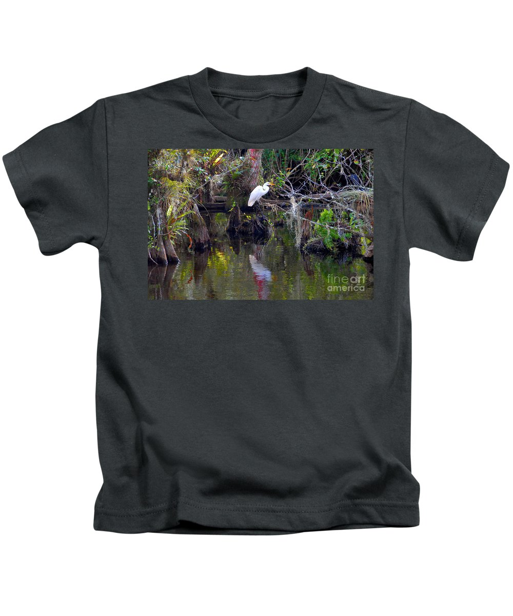Everglades National Park Florida Kids T-Shirt featuring the photograph An Egrets World by David Lee Thompson