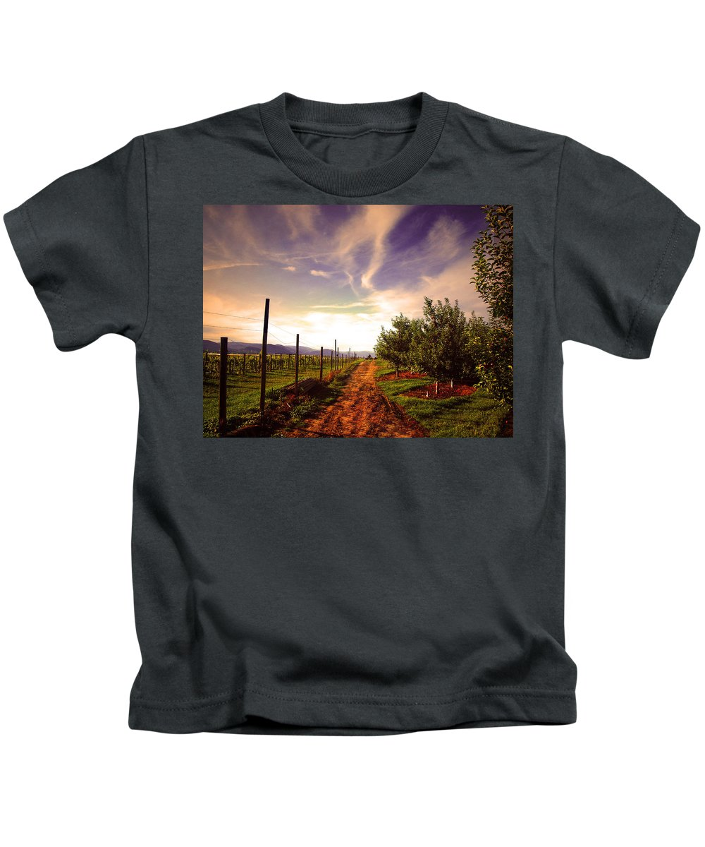 Road Kids T-Shirt featuring the photograph An Evening By The Orchard by Tara Turner