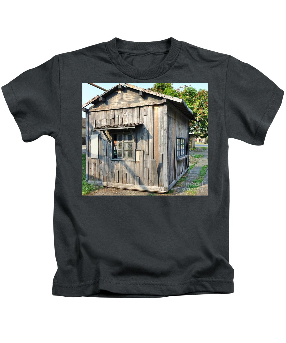 Shed Kids T-Shirt featuring the photograph An Old Wooden Shack by Yali Shi