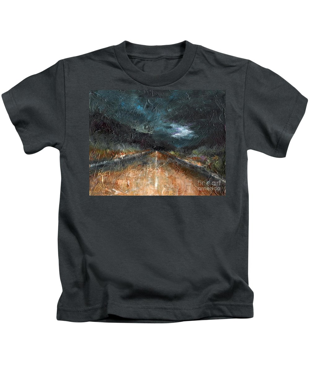 Landscape Kids T-Shirt featuring the painting And Life Goes On by Frances Marino