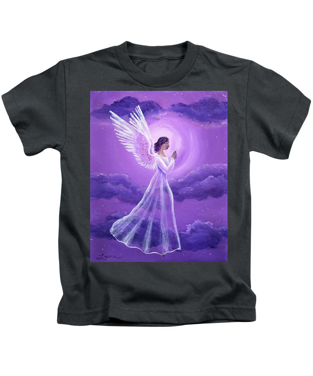 Original Kids T-Shirt featuring the painting Angel In Amethyst Moonlight by Laura Iverson