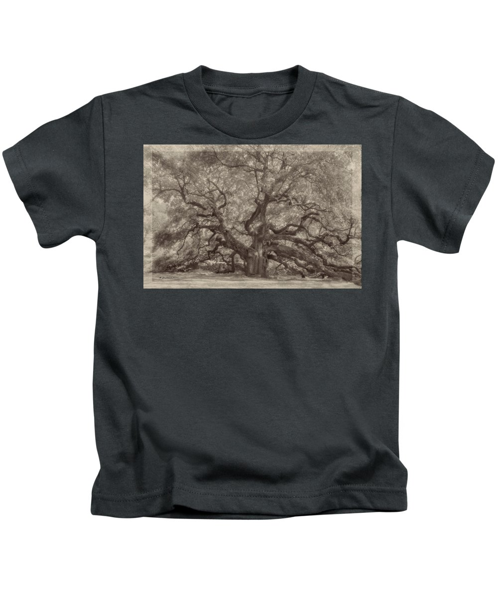 Angel Oak Kids T-Shirt featuring the digital art Angel Oak Tree by Darlene Freas