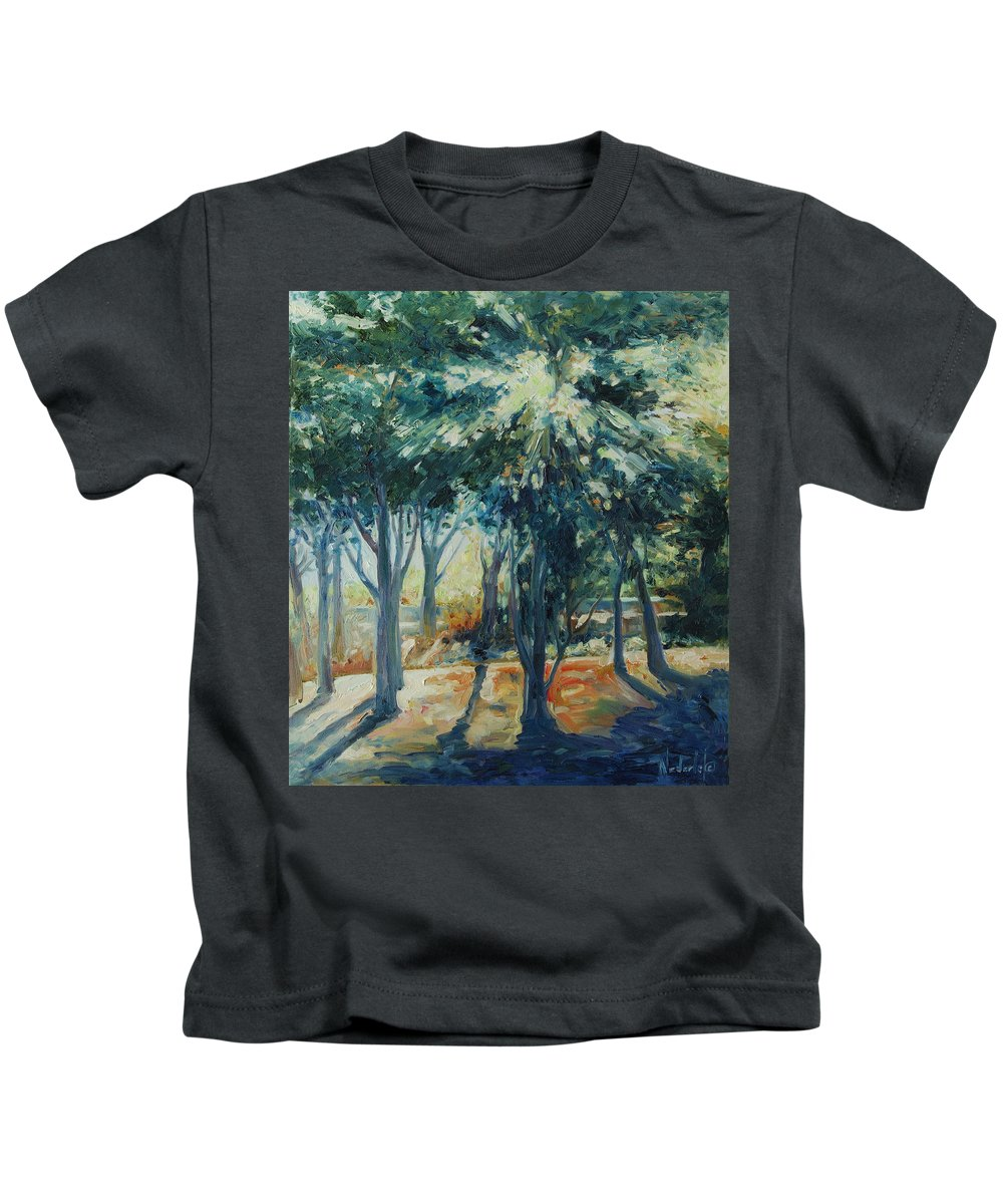Trees Kids T-Shirt featuring the painting Angel Rays by Rick Nederlof