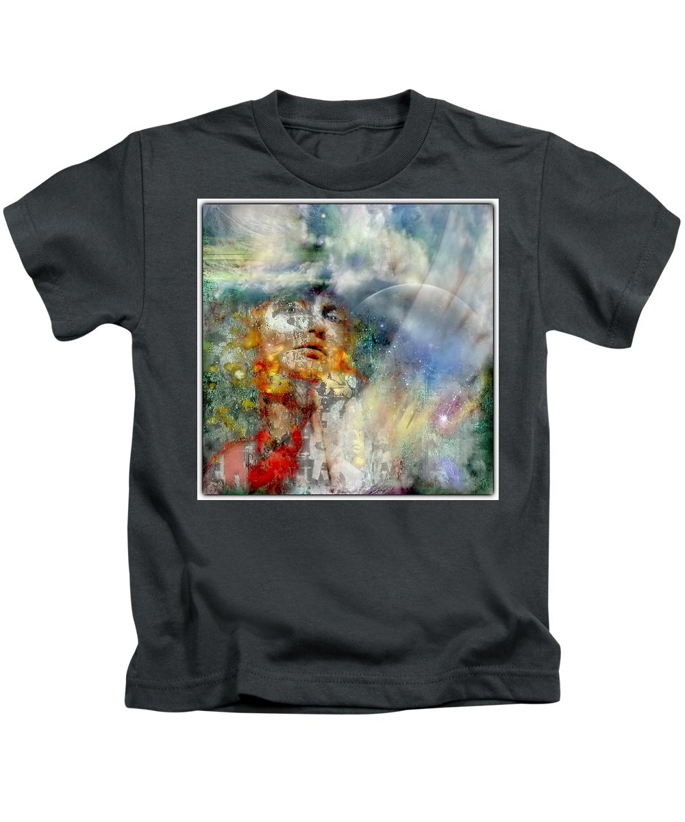 Portrait Kids T-Shirt featuring the mixed media Angels In Heaven by Freddy Kirsheh