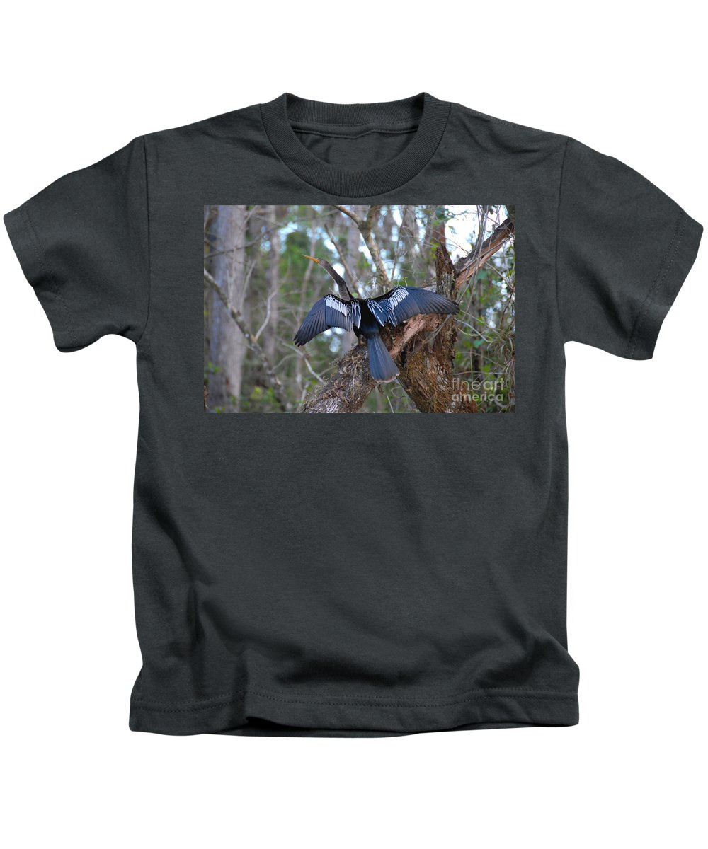 Anhinga Kids T-Shirt featuring the photograph Anhinga by David Lee Thompson
