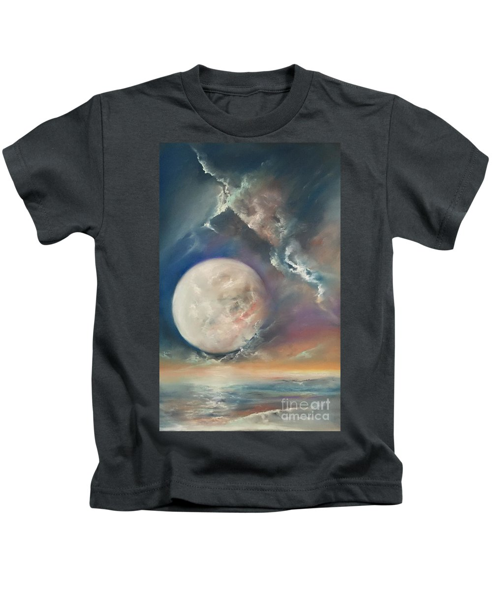 Pastel Kids T-Shirt featuring the pastel Anna Maria Moonset by Lex Halakan