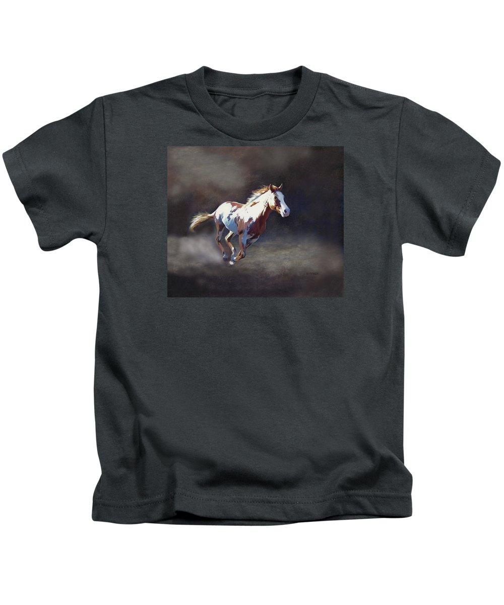 Horse Kids T-Shirt featuring the digital art Annie Bonanza by Barbara Hymer
