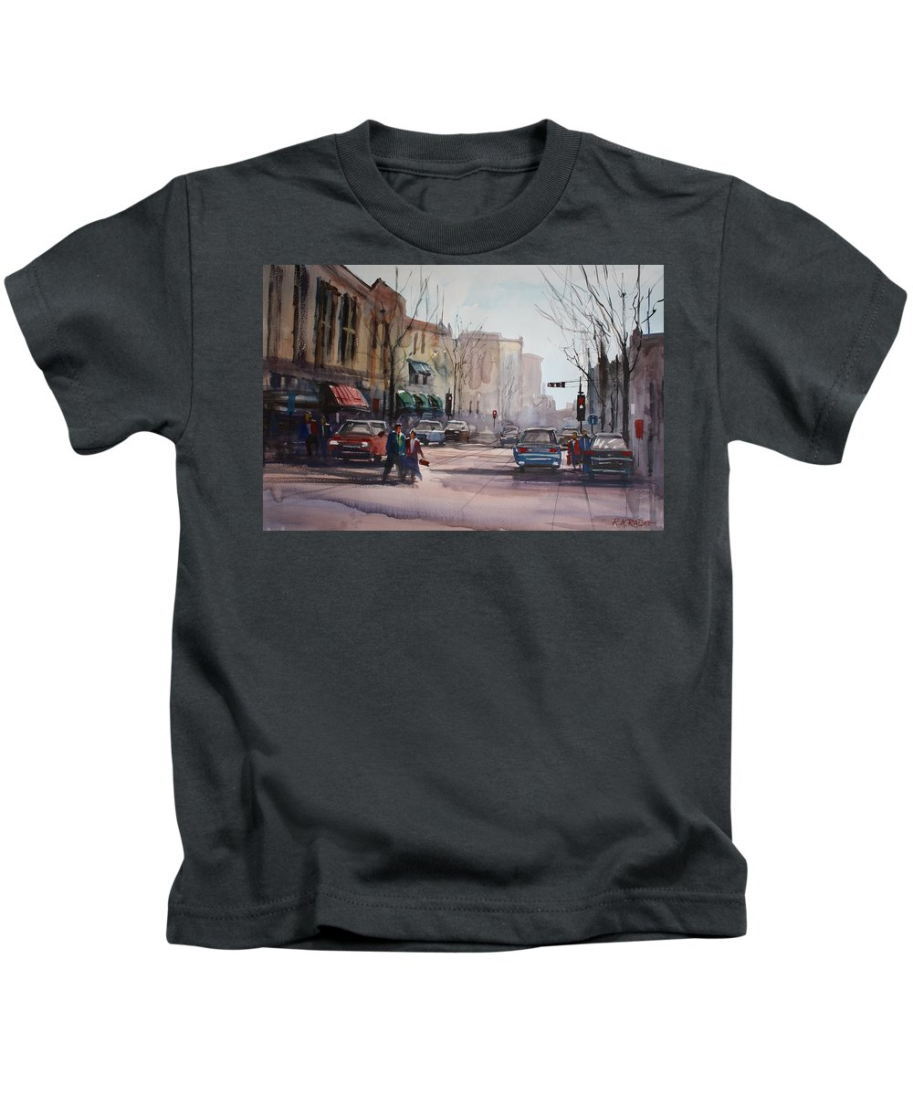 City Scene Kids T-Shirt featuring the painting Another Day In Fond Du Lac by Ryan Radke