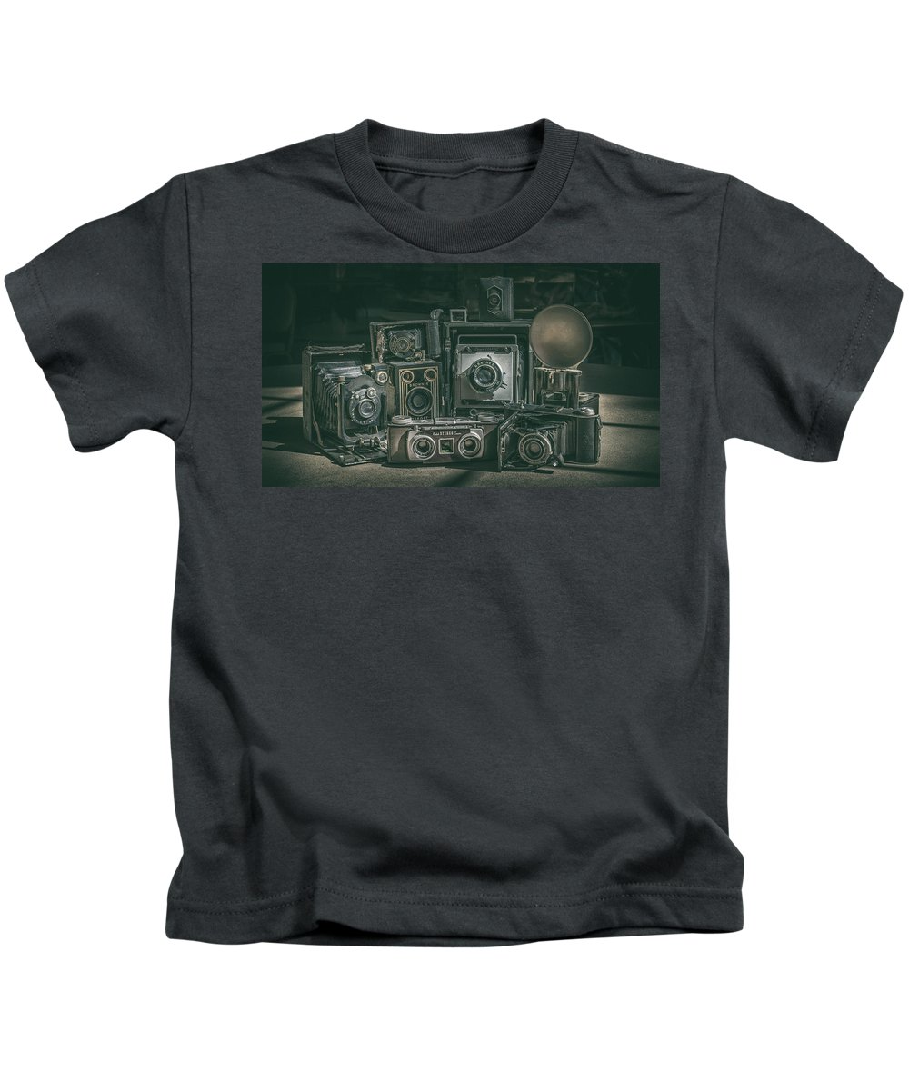 Old Cameras Kids T-Shirt featuring the photograph Antique Camera by Anna Jo Noviello