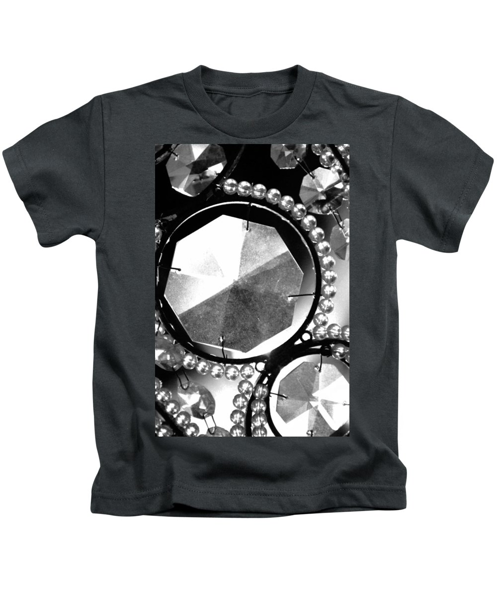 Black And White Kids T-Shirt featuring the photograph Antique Glass Chandelier by Jill Reger