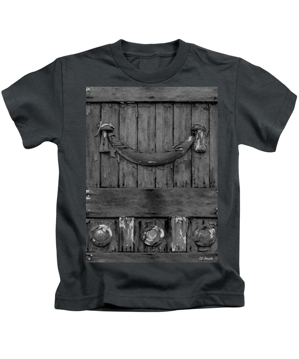 Antique Wood Panel Kids T-Shirt featuring the photograph Antique Ornate Wood Panel by Edward Smith