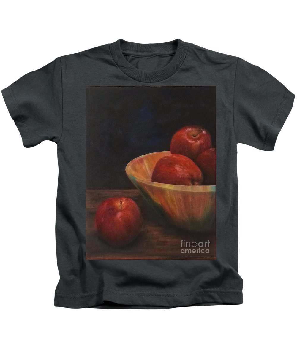 Apples Kids T-Shirt featuring the painting Apple by Kathleen Wong