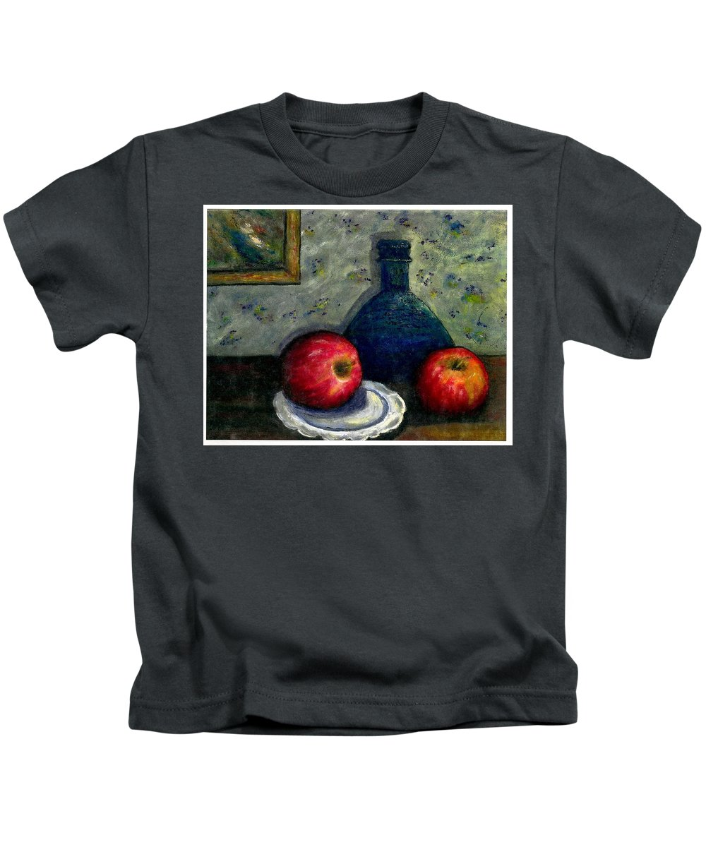 Still Life Kids T-Shirt featuring the painting Apples And Bottles by Gail Kirtz