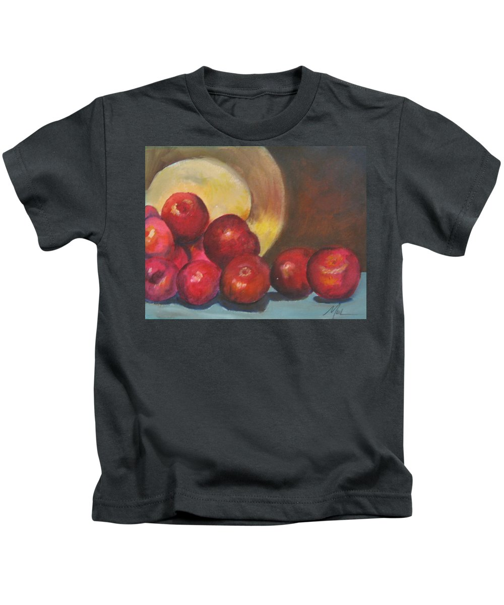 Apples Kids T-Shirt featuring the painting Apples by Melody Horton Karandjeff