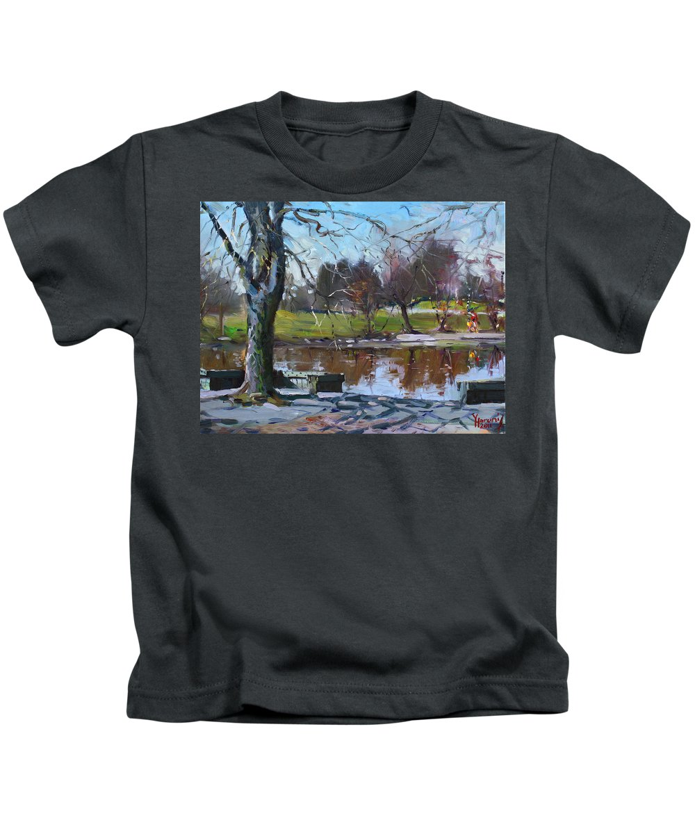Spring Kids T-Shirt featuring the painting April 09 2011 by Ylli Haruni