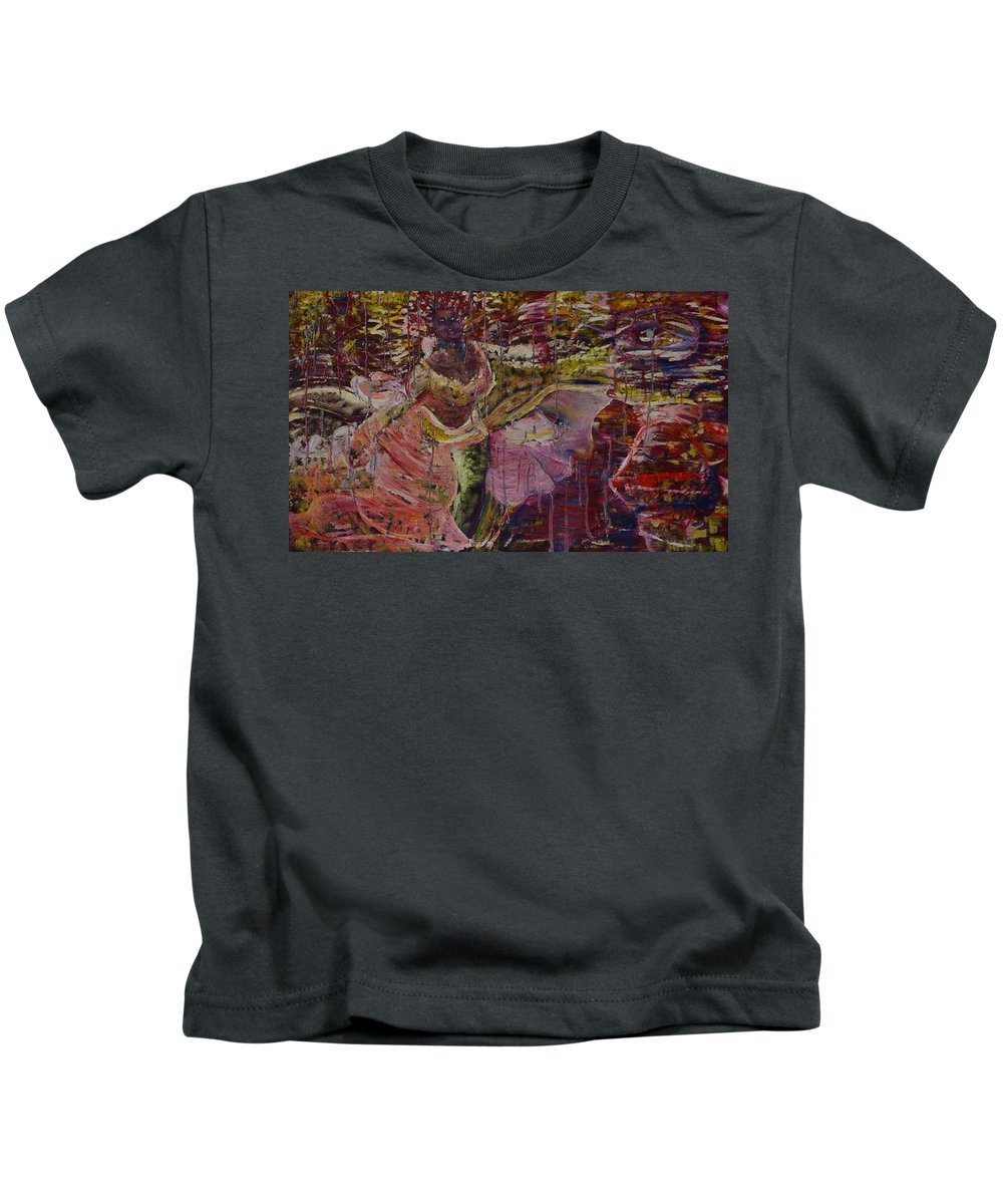 Portrait Kids T-Shirt featuring the painting April 29th. by Peggy Blood