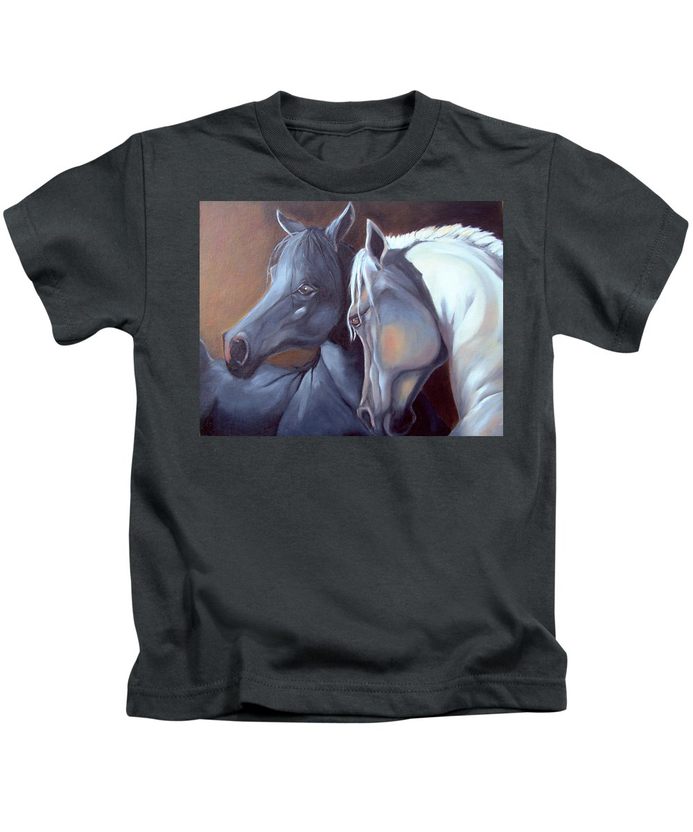 Equestrian Art Kids T-Shirt featuring the painting Arabique by Portraits By NC